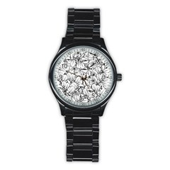 White Leaves Stainless Steel Round Watch