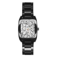White Leaves Stainless Steel Barrel Watch by SimplyColor