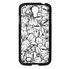 White Leaves Samsung Galaxy S4 I9500/ I9505 Case (black) by SimplyColor