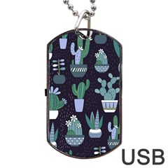 Cactus Pattern Dog Tag Usb Flash (one Side) by allthingseveryone