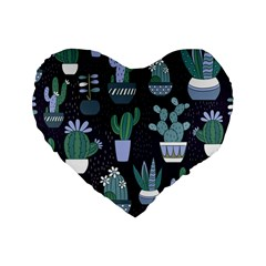 Cactus Pattern Standard 16  Premium Heart Shape Cushions by allthingseveryone