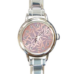 Rose Gold, Asian,leaf,pattern,bamboo Trees, Beauty, Pink,metallic,feminine,elegant,chic,modern,wedding Round Italian Charm Watch by 8fugoso