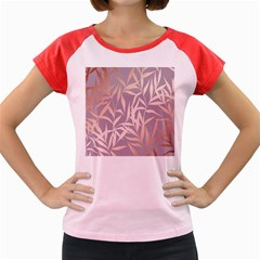Rose Gold, Asian,leaf,pattern,bamboo Trees, Beauty, Pink,metallic,feminine,elegant,chic,modern,wedding Women s Cap Sleeve T-shirt by 8fugoso