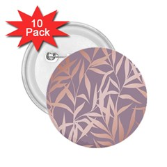 Rose Gold, Asian,leaf,pattern,bamboo Trees, Beauty, Pink,metallic,feminine,elegant,chic,modern,wedding 2 25  Buttons (10 Pack)  by 8fugoso