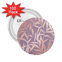Rose Gold, Asian,leaf,pattern,bamboo Trees, Beauty, Pink,metallic,feminine,elegant,chic,modern,wedding 2 25  Buttons (100 Pack)  by 8fugoso