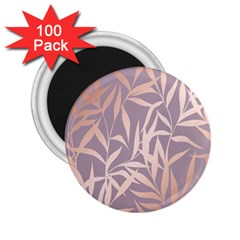 Rose Gold, Asian,leaf,pattern,bamboo Trees, Beauty, Pink,metallic,feminine,elegant,chic,modern,wedding 2 25  Magnets (100 Pack)