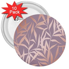 Rose Gold, Asian,leaf,pattern,bamboo Trees, Beauty, Pink,metallic,feminine,elegant,chic,modern,wedding 3  Buttons (10 Pack)  by 8fugoso