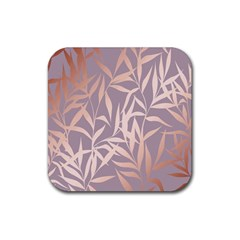 Rose Gold, Asian,leaf,pattern,bamboo Trees, Beauty, Pink,metallic,feminine,elegant,chic,modern,wedding Rubber Square Coaster (4 Pack)
