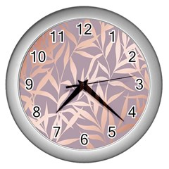 Rose Gold, Asian,leaf,pattern,bamboo Trees, Beauty, Pink,metallic,feminine,elegant,chic,modern,wedding Wall Clocks (silver)  by 8fugoso
