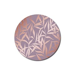 Rose Gold, Asian,leaf,pattern,bamboo Trees, Beauty, Pink,metallic,feminine,elegant,chic,modern,wedding Rubber Round Coaster (4 Pack)  by 8fugoso