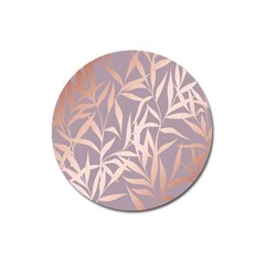Rose Gold, Asian,leaf,pattern,bamboo Trees, Beauty, Pink,metallic,feminine,elegant,chic,modern,wedding Magnet 3  (round)