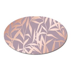 Rose Gold, Asian,leaf,pattern,bamboo Trees, Beauty, Pink,metallic,feminine,elegant,chic,modern,wedding Oval Magnet by 8fugoso
