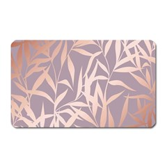 Rose Gold, Asian,leaf,pattern,bamboo Trees, Beauty, Pink,metallic,feminine,elegant,chic,modern,wedding Magnet (rectangular) by 8fugoso