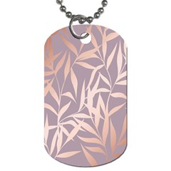 Rose Gold, Asian,leaf,pattern,bamboo Trees, Beauty, Pink,metallic,feminine,elegant,chic,modern,wedding Dog Tag (two Sides) by 8fugoso