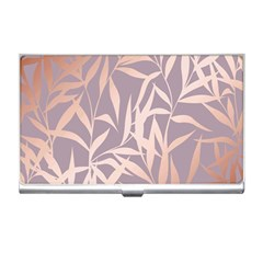 Rose Gold, Asian,leaf,pattern,bamboo Trees, Beauty, Pink,metallic,feminine,elegant,chic,modern,wedding Business Card Holders