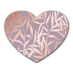 Rose Gold, Asian,leaf,pattern,bamboo Trees, Beauty, Pink,metallic,feminine,elegant,chic,modern,wedding Heart Mousepads by 8fugoso