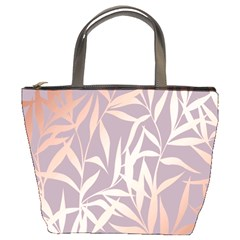 Rose Gold, Asian,leaf,pattern,bamboo Trees, Beauty, Pink,metallic,feminine,elegant,chic,modern,wedding Bucket Bags