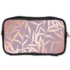 Rose Gold, Asian,leaf,pattern,bamboo Trees, Beauty, Pink,metallic,feminine,elegant,chic,modern,wedding Toiletries Bags 2 Side