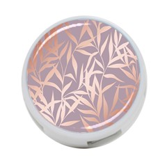 Rose Gold, Asian,leaf,pattern,bamboo Trees, Beauty, Pink,metallic,feminine,elegant,chic,modern,wedding 4 Port Usb Hub (one Side)