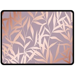 Rose Gold, Asian,leaf,pattern,bamboo Trees, Beauty, Pink,metallic,feminine,elegant,chic,modern,wedding Fleece Blanket (large)