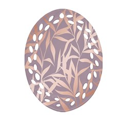 Rose Gold, Asian,leaf,pattern,bamboo Trees, Beauty, Pink,metallic,feminine,elegant,chic,modern,wedding Oval Filigree Ornament (two Sides)