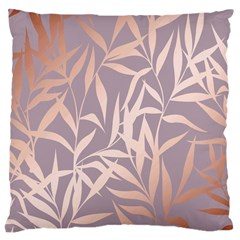 Rose Gold, Asian,leaf,pattern,bamboo Trees, Beauty, Pink,metallic,feminine,elegant,chic,modern,wedding Large Cushion Case (two Sides) by 8fugoso