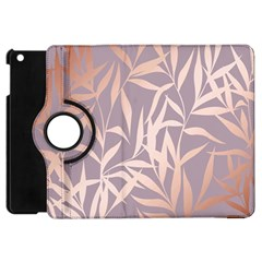 Rose Gold, Asian,leaf,pattern,bamboo Trees, Beauty, Pink,metallic,feminine,elegant,chic,modern,wedding Apple Ipad Mini Flip 360 Case