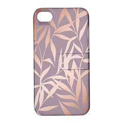 Rose Gold, Asian,leaf,pattern,bamboo Trees, Beauty, Pink,metallic,feminine,elegant,chic,modern,wedding Apple Iphone 4/4s Hardshell Case With Stand