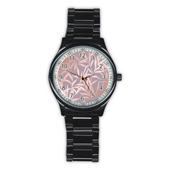 Rose Gold, Asian,leaf,pattern,bamboo Trees, Beauty, Pink,metallic,feminine,elegant,chic,modern,wedding Stainless Steel Round Watch