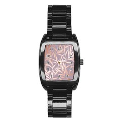 Rose Gold, Asian,leaf,pattern,bamboo Trees, Beauty, Pink,metallic,feminine,elegant,chic,modern,wedding Stainless Steel Barrel Watch