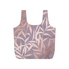 Rose Gold, Asian,leaf,pattern,bamboo Trees, Beauty, Pink,metallic,feminine,elegant,chic,modern,wedding Full Print Recycle Bags (s)  by 8fugoso