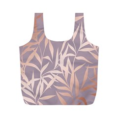 Rose Gold, Asian,leaf,pattern,bamboo Trees, Beauty, Pink,metallic,feminine,elegant,chic,modern,wedding Full Print Recycle Bags (m)  by 8fugoso
