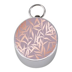 Rose Gold, Asian,leaf,pattern,bamboo Trees, Beauty, Pink,metallic,feminine,elegant,chic,modern,wedding Mini Silver Compasses