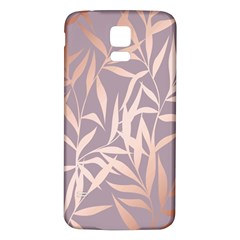 Rose Gold, Asian,leaf,pattern,bamboo Trees, Beauty, Pink,metallic,feminine,elegant,chic,modern,wedding Samsung Galaxy S5 Back Case (white) by 8fugoso