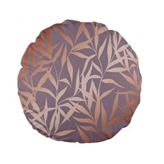 Rose Gold, Asian,leaf,pattern,bamboo Trees, Beauty, Pink,metallic,feminine,elegant,chic,modern,wedding Standard 15  Premium Flano Round Cushions
