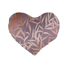 Rose Gold, Asian,leaf,pattern,bamboo Trees, Beauty, Pink,metallic,feminine,elegant,chic,modern,wedding Standard 16  Premium Flano Heart Shape Cushions