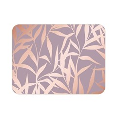 Rose Gold, Asian,leaf,pattern,bamboo Trees, Beauty, Pink,metallic,feminine,elegant,chic,modern,wedding Double Sided Flano Blanket (mini)