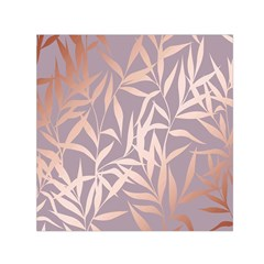 Rose Gold, Asian,leaf,pattern,bamboo Trees, Beauty, Pink,metallic,feminine,elegant,chic,modern,wedding Small Satin Scarf (square)