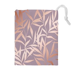 Rose Gold, Asian,leaf,pattern,bamboo Trees, Beauty, Pink,metallic,feminine,elegant,chic,modern,wedding Drawstring Pouches (extra Large) by 8fugoso