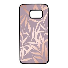 Rose Gold, Asian,leaf,pattern,bamboo Trees, Beauty, Pink,metallic,feminine,elegant,chic,modern,wedding Samsung Galaxy S7 Black Seamless Case