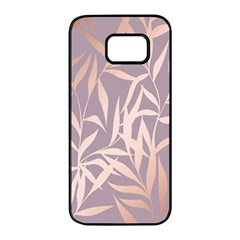 Rose Gold, Asian,leaf,pattern,bamboo Trees, Beauty, Pink,metallic,feminine,elegant,chic,modern,wedding Samsung Galaxy S7 Edge Black Seamless Case by 8fugoso
