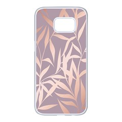 Rose Gold, Asian,leaf,pattern,bamboo Trees, Beauty, Pink,metallic,feminine,elegant,chic,modern,wedding Samsung Galaxy S7 Edge White Seamless Case by 8fugoso