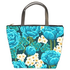 Light Blue Roses And Daisys Bucket Bags by allthingseveryone