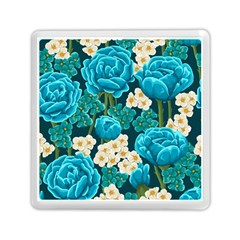 Light Blue Roses And Daisys Memory Card Reader (square)  by allthingseveryone
