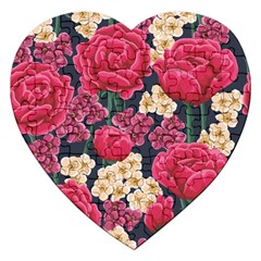 Pink Roses And Daisies Jigsaw Puzzle (heart) by allthingseveryone