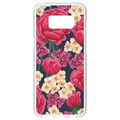 Pink Roses And Daisies Samsung Galaxy S8 White Seamless Case by allthingseveryone
