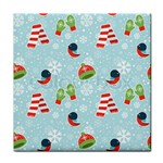 Winter Fun Pattern Tile Coasters Front