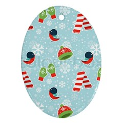 Winter Fun Pattern Oval Ornament (two Sides) by allthingseveryone