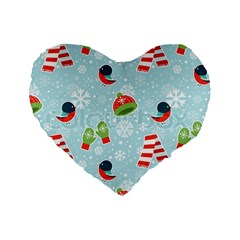 Winter Fun Pattern Standard 16  Premium Heart Shape Cushions by allthingseveryone