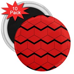 Red Box Pattern 3  Magnets (10 Pack)